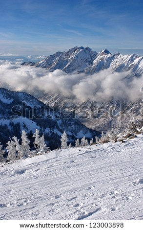 Spectacular view to the Mountains from Snowbird ski resort in Utah, USA - stock photo