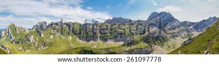 Spectaqular panorama view of the Alpstein mountain range with special layer structure, the swiss alps in Switzerland - stock photo