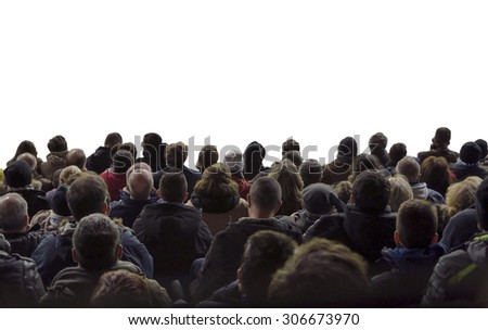Spectators. A crowd of people isolated over white watching concert or sport event