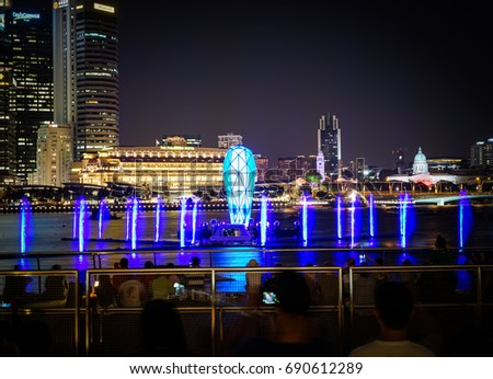spectra light water show marina bay stock photo royalty free