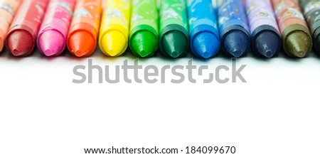 Spectrum of color crayon isolated on white background - stock photo