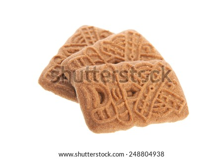 Speculaas is a typical Dutch cookie isolated over white background - stock photo