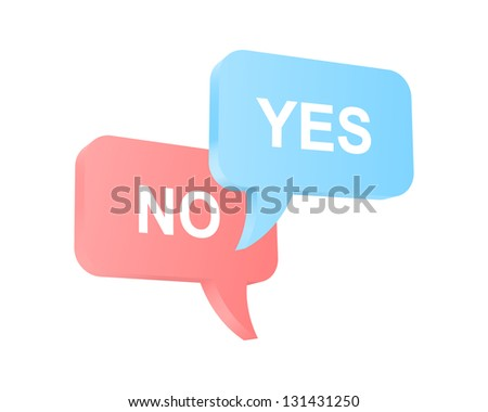 Speech balloons with two opposite opinions. 2d illustration. - stock photo