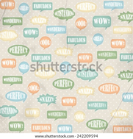 Speech Bubble Background with Positive Words on Distressed Cream Polka Dot Background - stock photo