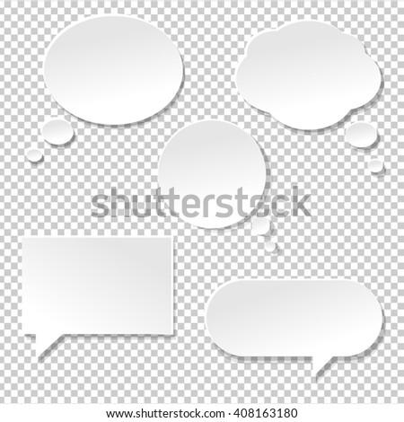 Speech Bubble Big Set, Isolated on Transparent Background - stock photo