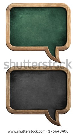 speech bubble blackboards or chalkboards set isolated on white with clipping path included - stock photo