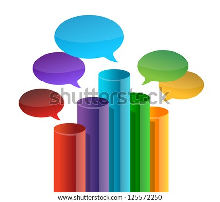 speech bubble business graph illustration design over white