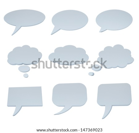 Speech bubble collection on white isolated with clipping path