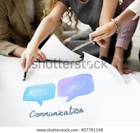 Speech Bubble Communication Conversation Technology Concept - stock photo