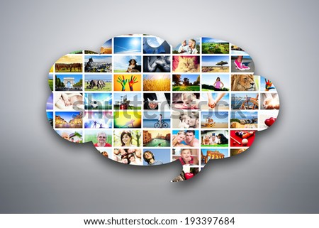 Speech bubble design element made of pictures, photographs of people, animals and places. Conceptual background - stock photo