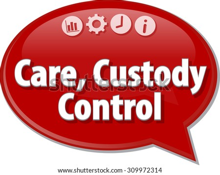 Speech bubble dialog illustration of business term saying Care Custody Control - stock photo