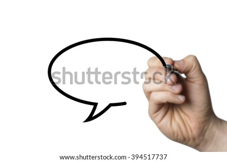 speech bubble drawn by a hand isolated on white background