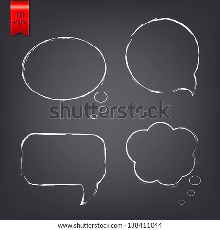 Speech Bubble Drawn With Chalk - stock photo