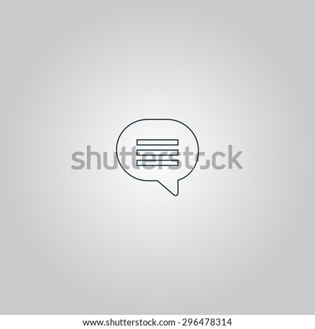 Speech bubble. Flat web icon or sign isolated on grey background. Collection modern trend concept design style  illustration symbol - stock photo