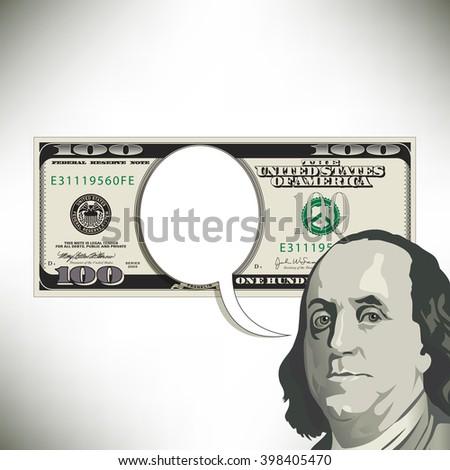 Speech bubble fun with a 100 dollar bill - stock photo