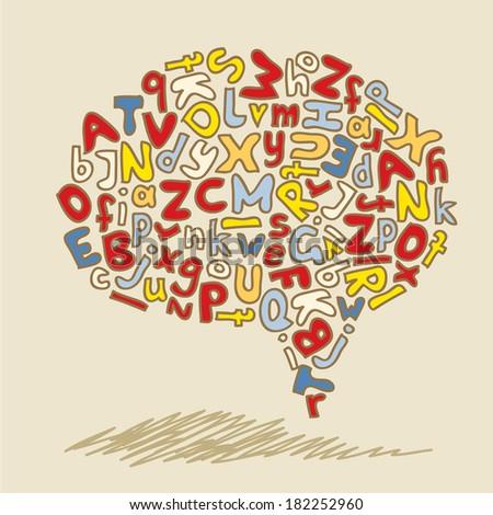 speech bubble hand drawn alphabet - stock photo