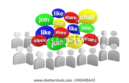 Speech bubble in 3d for social media concept on white background