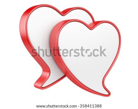 Speech bubble in form heart.  3d illustration isolated on a white background