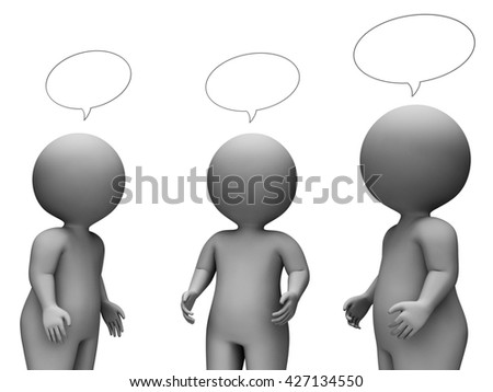 Speech Bubble Indicating Copy Space And Illustration 3d Rendering - stock photo