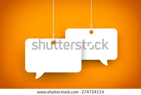 Speech bubble on the string - stock photo