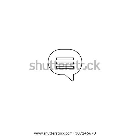 Speech bubble. Outline black simple symbol - stock photo
