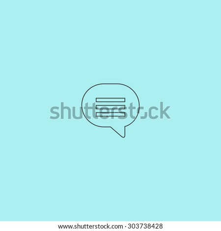 Speech bubble. Outline simple flat icon isolated on blue background - stock photo