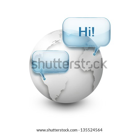 Speech bubble over the world - stock photo