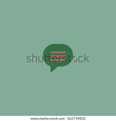 Speech bubble. Simple flat color icon on colorful background - stock photo