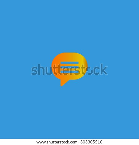 Speech bubble. Simple flat icon on blue background - stock photo