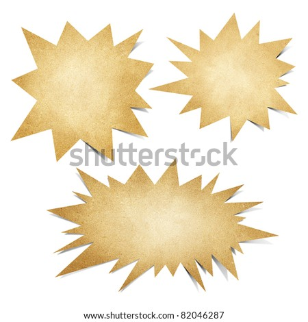 speech bubble  talk recycled paper craft stick on white background - stock photo