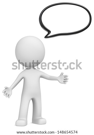 Speech Bubble. The Dude and Speech Bubble. Black, Copy space. - stock photo