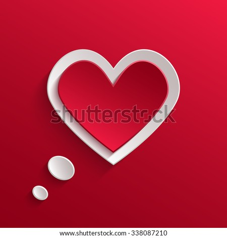 Speech Bubble. White Paper Heart With Shadow On Red Background. Valentine's day Background - stock photo