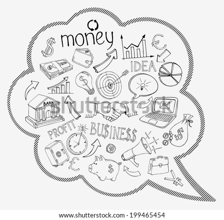 Speech bubble with business and money infographic icons depicting  investment  savings  success  analytics  targets  planning  handshake  security and currencies   doodle sketches - stock photo