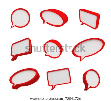 Speech bubble with red frame - stock photo