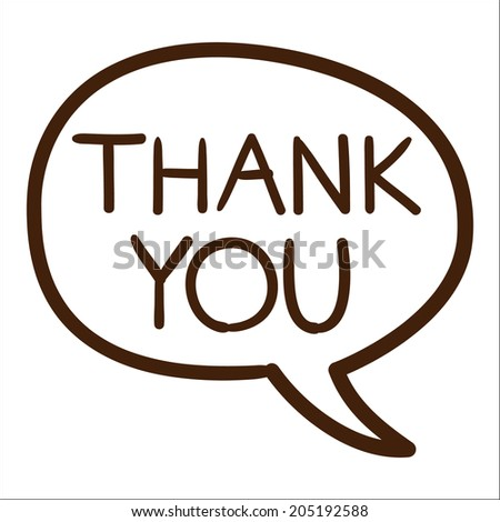 Speech bubble with thank you text. - stock photo