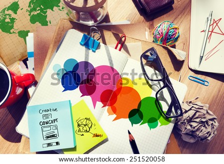 Speech Bubbles Colorful Communication Thoughts Talking Concept - stock photo
