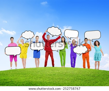 Speech Bubbles Diverse Diversity Ethnic Ethnicity Togetherness Concept