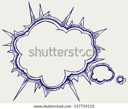 Speech bubbles. Doodle style. Raster version - stock photo