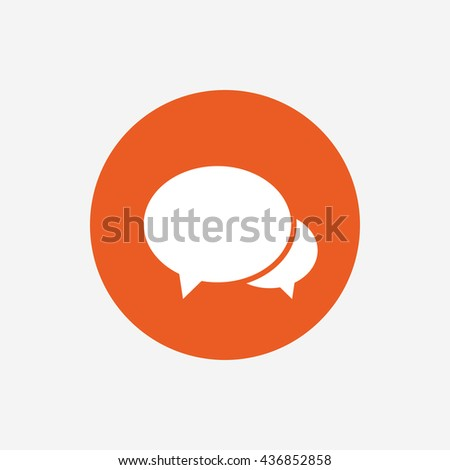 Speech bubbles icon. Chat or blogging sign. Communication symbol. Orange circle button with icon.