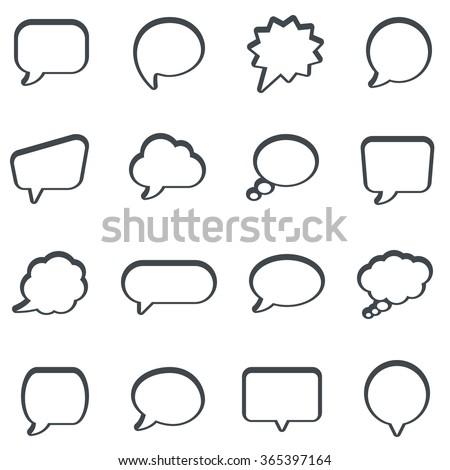 Speech bubbles icon set - stock photo