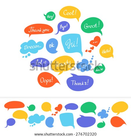 Speech bubbles in different colors with hand written text isolated on white - stock photo