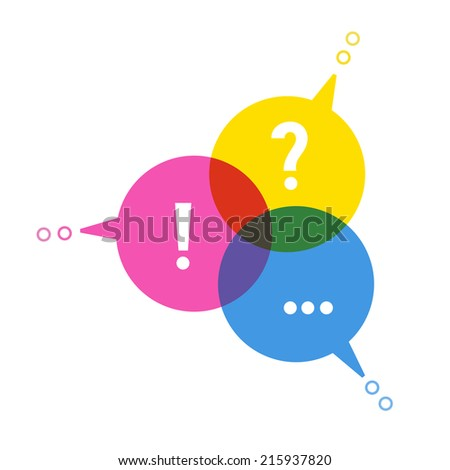 Speech bubbles in form chart cmyk color. Social media icon. Concept of communication, exchange of information, search for compromise. Illustration for web template, print. - stock photo