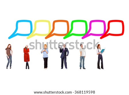 Speech Bubbles Many Colleagues  - stock photo