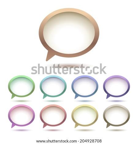 Speech bubbles, nine colors - stock photo