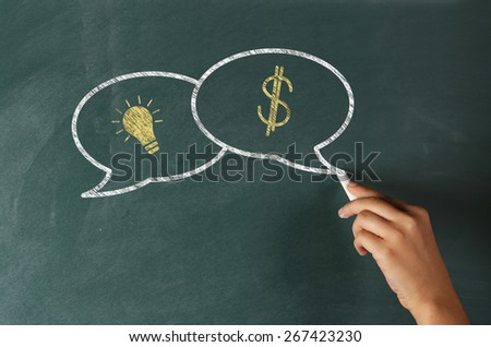 Speech Bubbles on a Blackboard with Ideas Concept - stock photo