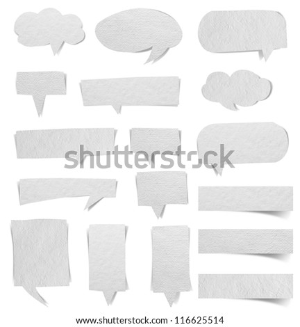 speech bubbles paper background, Save paths for design work - stock photo
