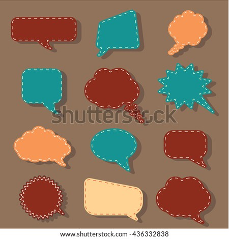 Speech bubbles tag sticker set, chat dialog background. symbols signs shapes. Bubble graphic doodle board. Hand draw style. Hand made speech boxes. Paper stickers text box - stock photo