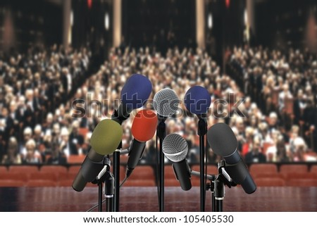 Speech in the hall - stock photo