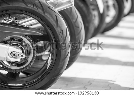 speed Bikes in a row - stock photo