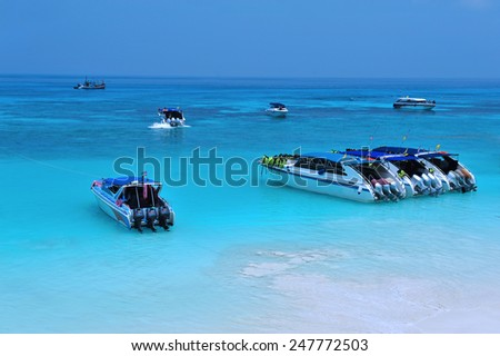 Speed boat at Tachai island Thailand